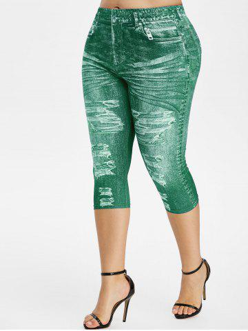 Plus Size 3D Denim Print Capri High Rise Jeggings - SEA TURTLE GREEN - 4X