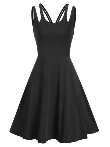 Pure Color Cut Out Sleeveless A Line Dress