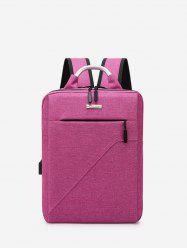 Pure Color Multi Zip Pockets Large Capacity Backpack -