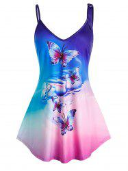 Plus Size Ombre Butterfly Print Tank Top -