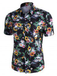 Skull Ditsy Floral Button Up Casual Shirt -