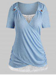 Plus Size Lace Insert Crossover T Shirt -