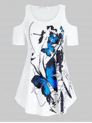 Plus Size Butterfly Print Cold Shoulder Curved Tunic Tee -