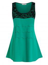 Plus Size Scalloped Lace Panel Sheer Two Tone Tank Top -