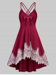 Strappy Lace Insert Ruched High Low Dress -