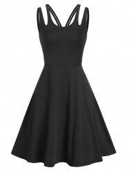 Pure Color Cut Out Sleeveless A Line Dress -