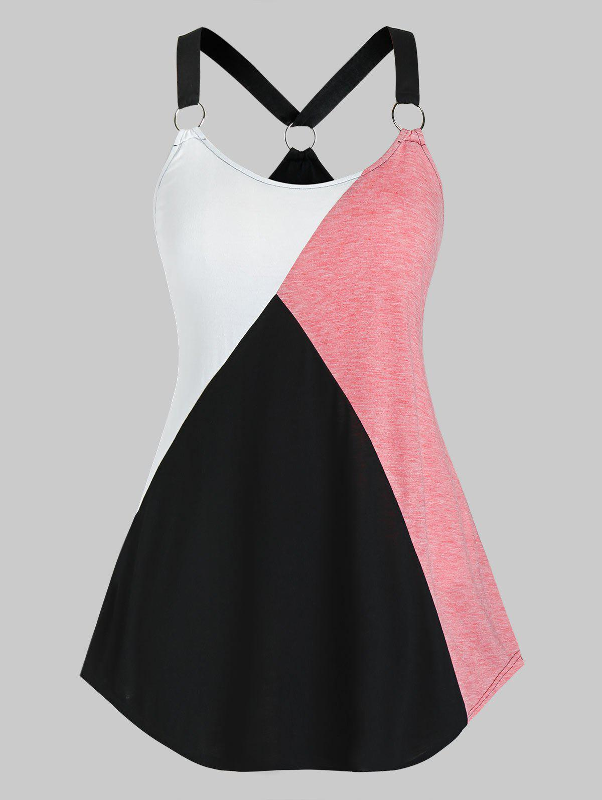 Unique Plus Size Colorblock Ring Linked V Back Tunic Tank Top