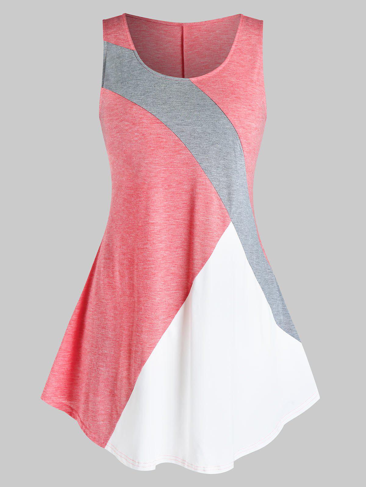 Plus Size Geometric Patchwork Tank Top Rosegal