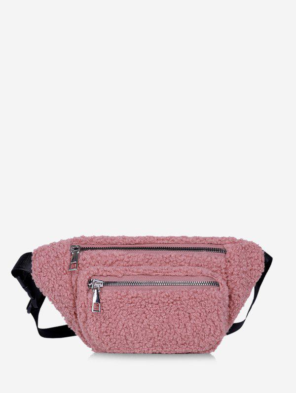 Trendy Pure Color Zip Pockets Adjustable Fluffy Chest Bag