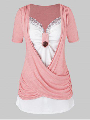 Plus Size Crossover Two Tone Knotted T Shirt - LIGHT PINK - L