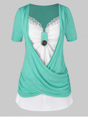 Plus Size Crossover Two Tone Knotted T Shirt - SEA GREEN - 2X
