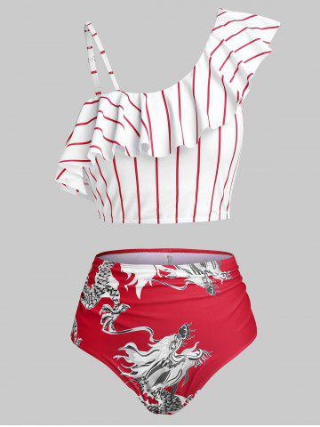 Plus Size Chinese Style Dragon Print Ruffle Stripe Tankini Swimwear