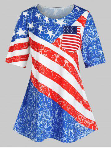 Plus Size American Flag Striped Star Pattern Tunic Tee - MULTI - 3X
