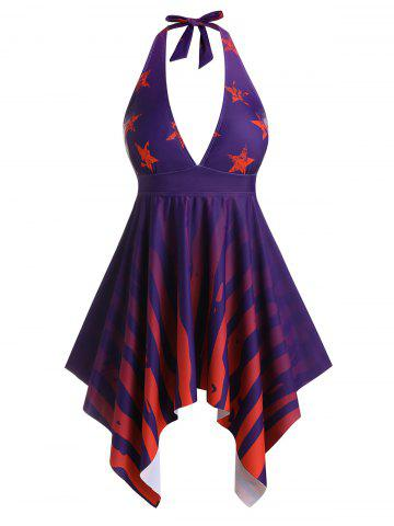 Plus Size Star Striped Hanky Hem Halter Backless Tankini Swimwear - MULTI - L