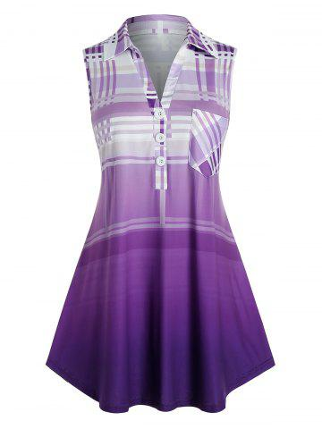 Plus Size Plaid Ombre Color Tent Blouse - VIOLET - 4X