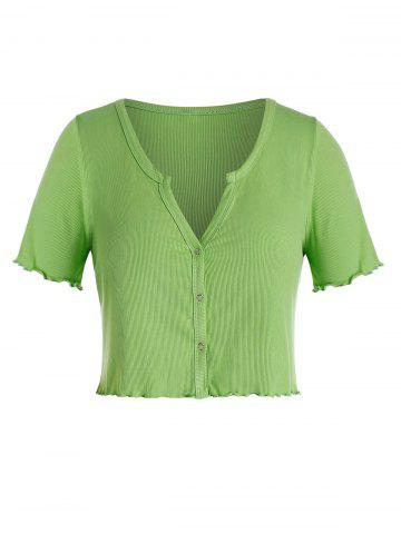 Plus Size Ribbed V Notch Lettuce Crop Tee