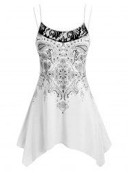 Lace Panel Handkerchief Paisley Print Plus Size Cami Top -