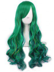 Anime Gradient Long Body Wave Inclined Bang Synthetic Wig -