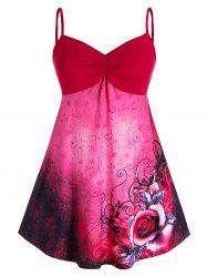 Plus Size Floral Print Ruched Empire Waist Tank Top -