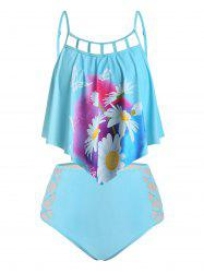 Plus Size Lattice Cut Daisy Print Crisscross Tankini Swimwear -