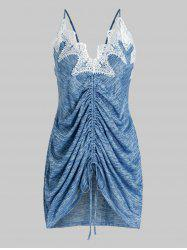 Plus Size Cinched Lace Applique Marled Tank Top -