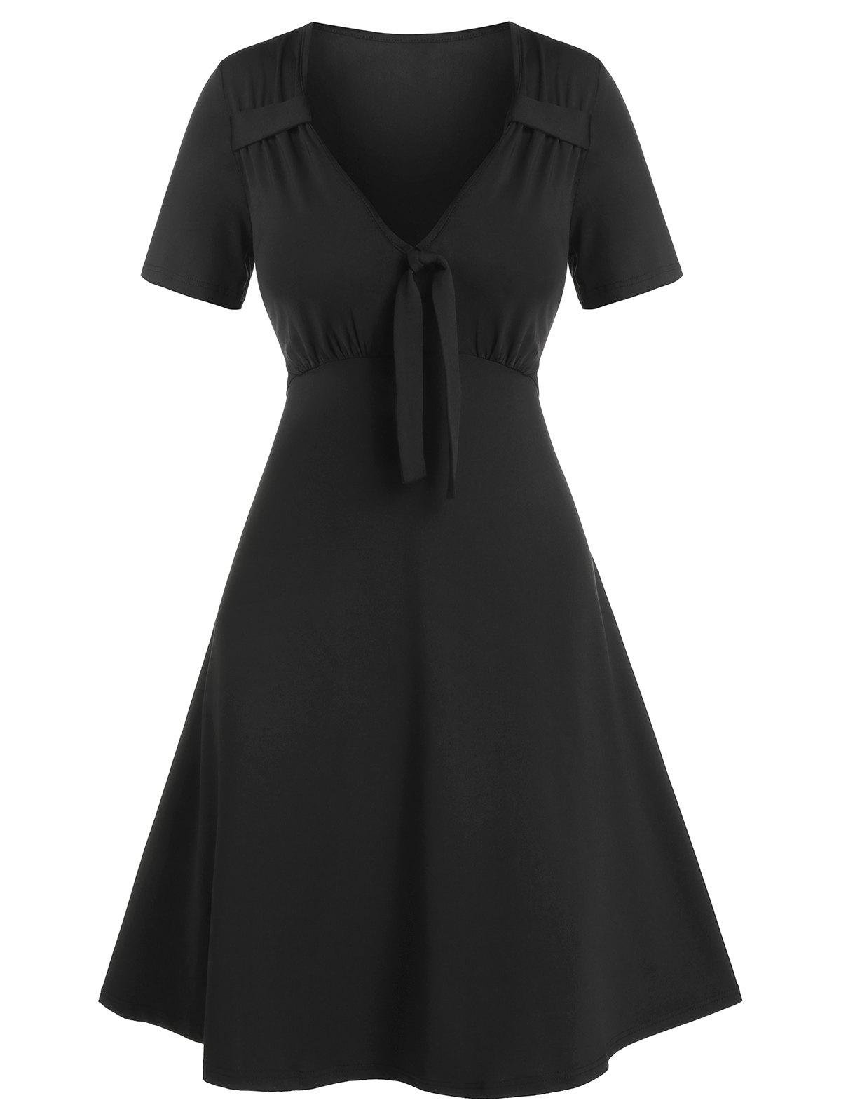 Outfits Plain Front Knotted Short Sleeve A Line Dress