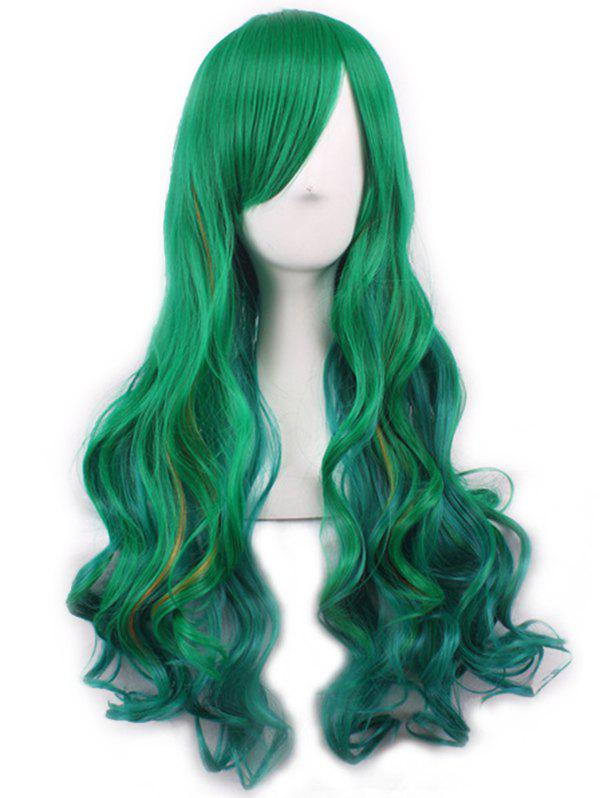 Discount Anime Gradient Long Body Wave Inclined Bang Synthetic Wig