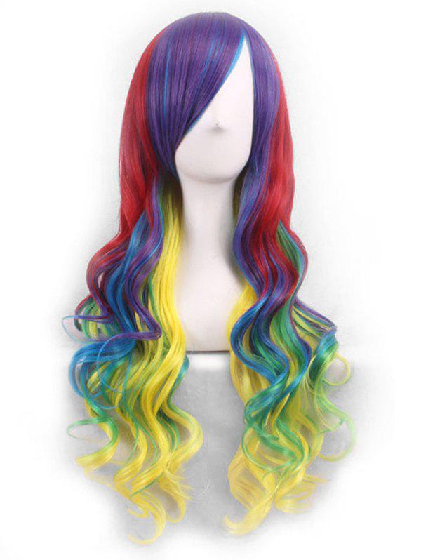 Fancy Cosplay Gradient Long Body Wave Side Bang Synthetic Wig