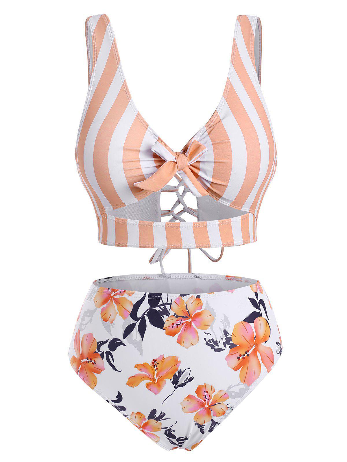 Affordable Striped Floral Cutout Lace-up Knot Tankini Swimwear