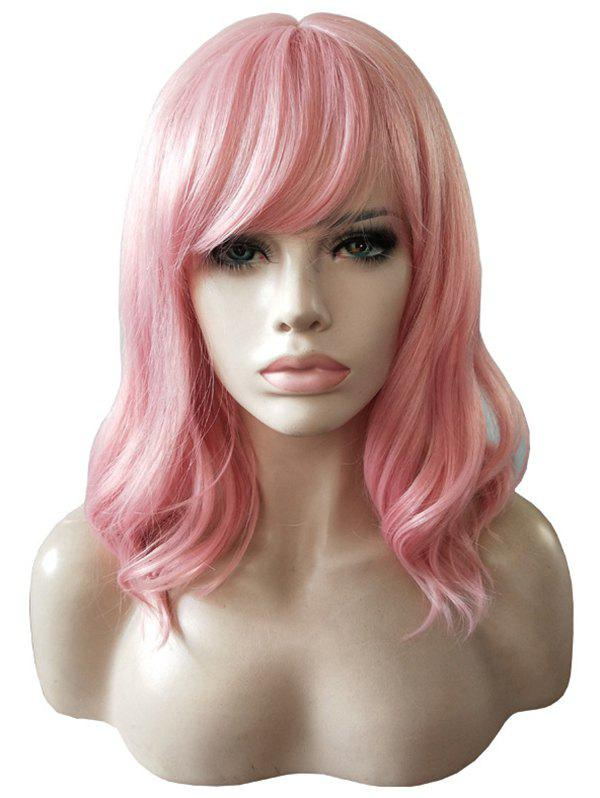 Discount Medium Curly Slightly Wave Side Bang Synthetic Wig