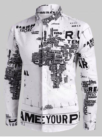 Letter Digital Map Print Button Up Casual Shirt