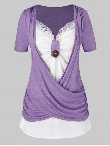Plus Size Crossover Two Tone Knotted T Shirt - VIOLA PURPLE - 1X