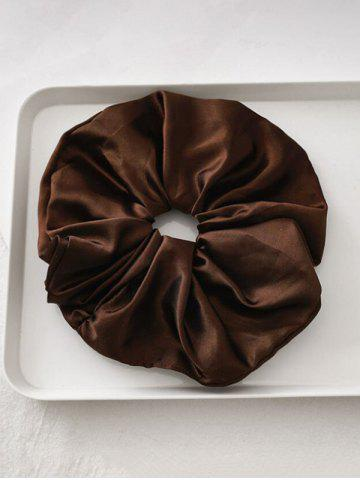 Satin Elastic Solid Fabric Scrunchy - DEEP COFFEE