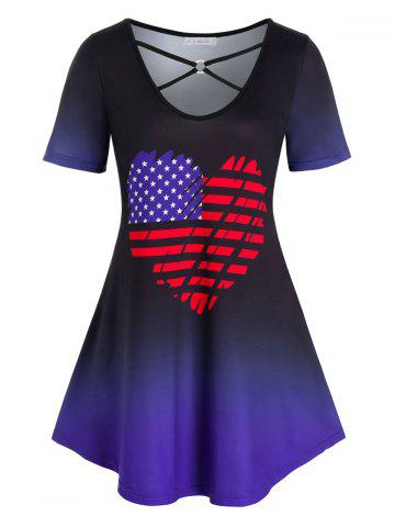 Plus Size American Flag Ombre Heart Ring Linked Tee