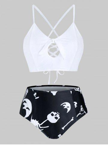 Plus Size Skull Print Knotted Cross Lace Up Tankini Swimwear - MULTI - 4X