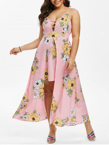 Plus Size Floral Print Overlay Maxi Dress - PINK - L