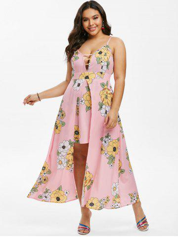 Plus Size Floral Print Overlay Maxi Dress