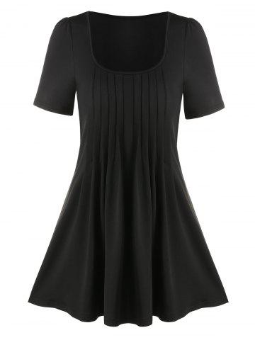 Pure Color Pleated Short Sleeve T Shirt - BLACK - M