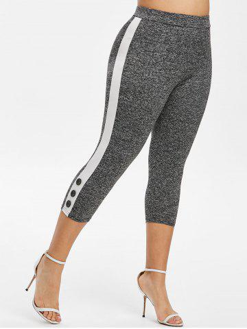Buttoned Contrast Side Space Dye Capri Plus Size Leggings - GRAY - 5X