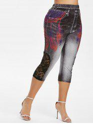 Plus Size 3D Feather Print Lace Panel Capri Jeggings -