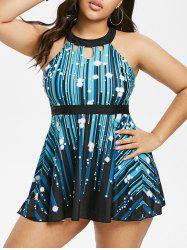 Plus Size Cutout Stripe Starlight Tankini Swimwear -