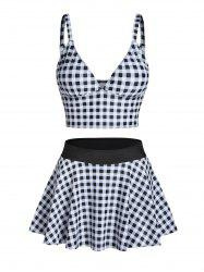 Gingham Print High Waist Skirted Tankini Swimwear -