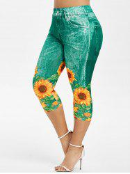 Plus Size Sunflower 3D Print Capri Jeggings -