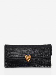 Heart Textured Tri-fold Multi-function Clutch Wallet -