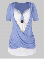 Plus Size Crossover Two Tone Knotted T Shirt -