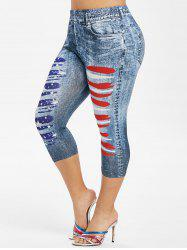 Plus Size  3D Ripped Print American Flag Capri Jeggings -