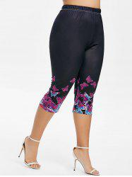 Plus Size Butterfly Print High Rise Crop Leggings -