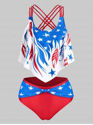 American Flag Print Strappy Knotted Tankini Set -