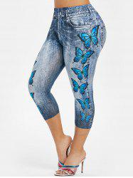 Plus Size 3D Denim Print Butterfly Capri Jeggings -