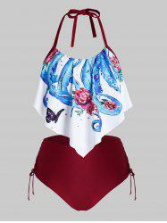 Plus Size Asymmetric Octopus Flower Cinched Tie Halter Tankini Swimwear -